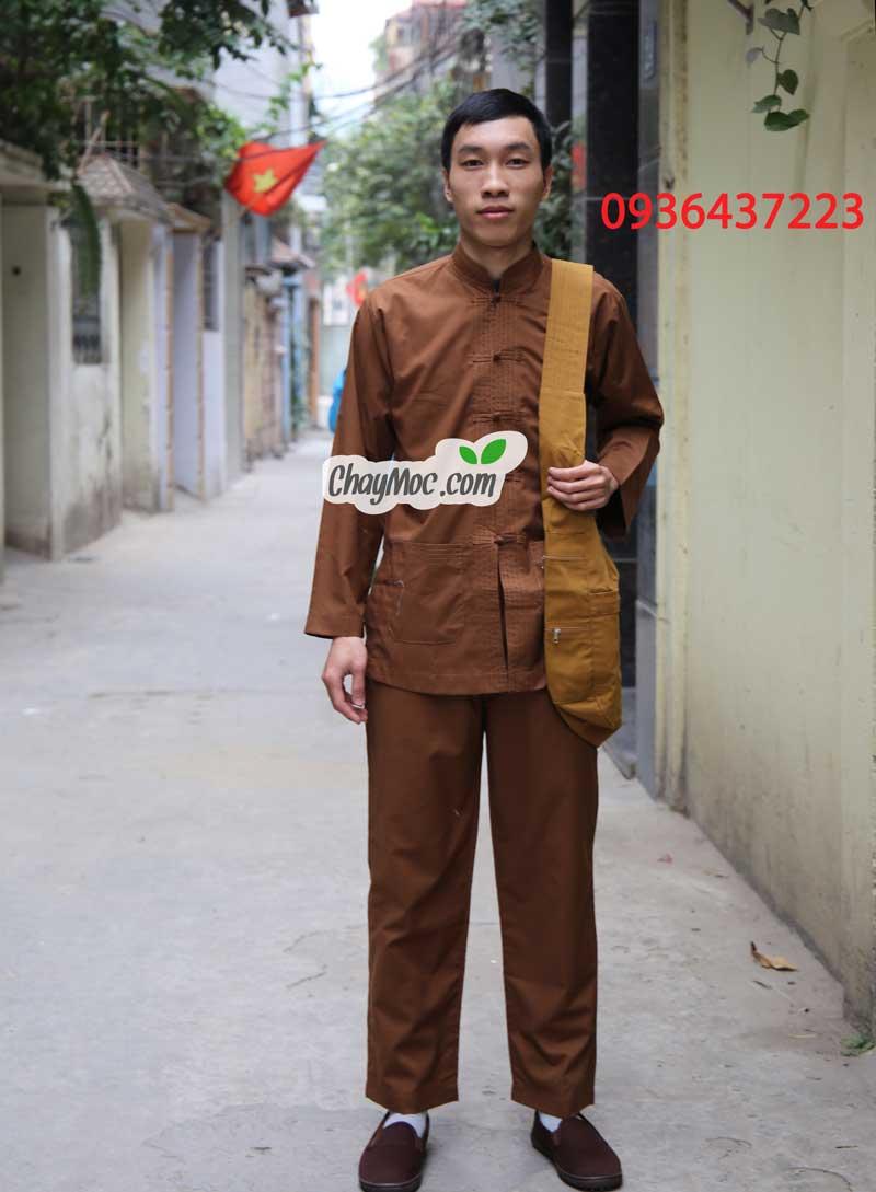 Quần áo đi chùa nam, quần áo phật tử nam, bộ đồ lam đi chùa nam